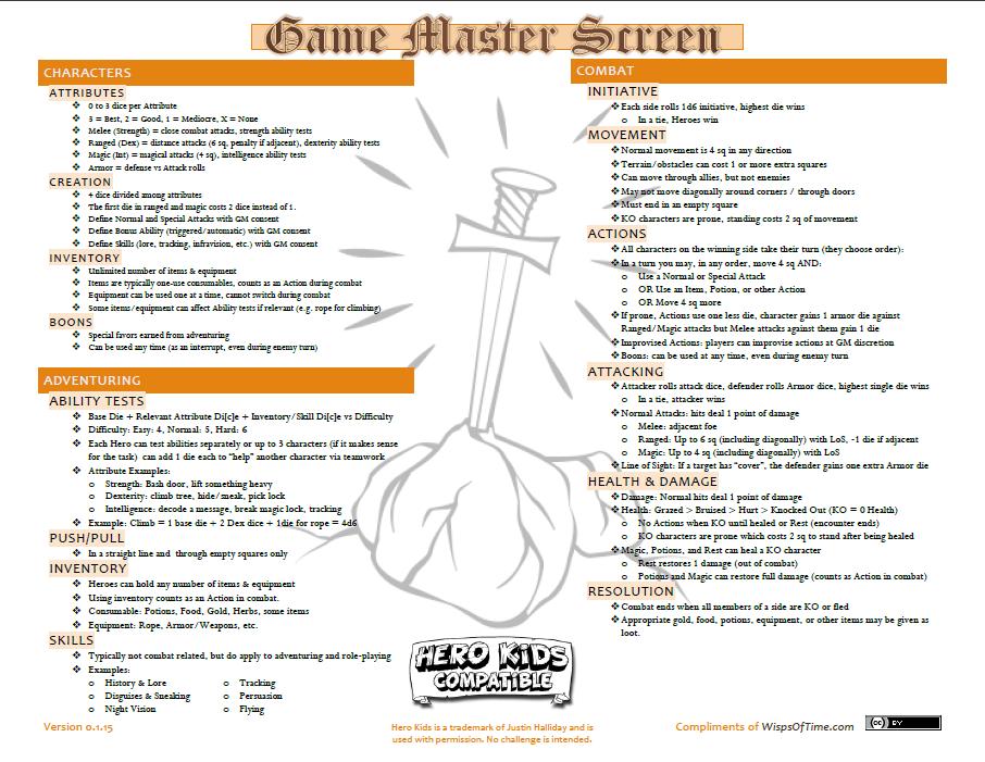 Hero Kids Compatible Game Master Screen